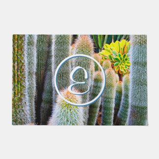 Green & orange fuzzy cacti photo custom monogram doormat
