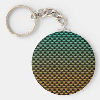 Green Orange Geometric Gradient Basic Round Button Keychain