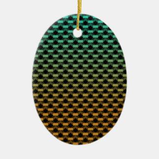 Green Orange Geometric Gradient Ceramic Ornament