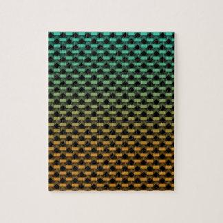 Green Orange Geometric Gradient Jigsaw Puzzle