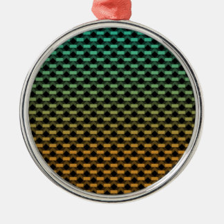 Green Orange Geometric Gradient Metal Ornament
