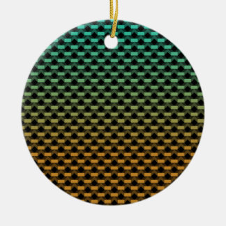 Green Orange Geometric Gradient Round Ceramic Ornament