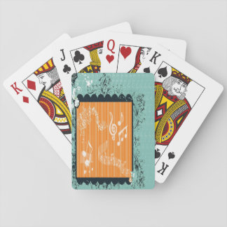Green & Orange Musical Design Playing Cards
