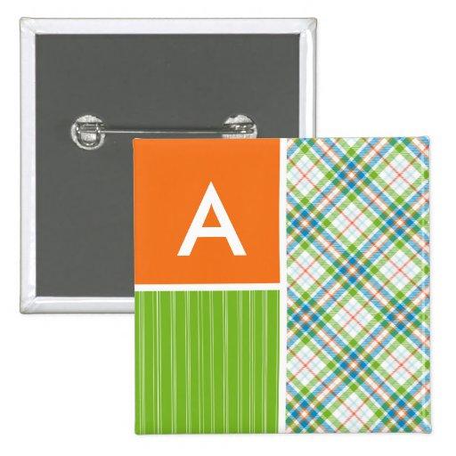 Green, Orange Plaid Pin