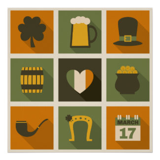 Green & Orange Retro St. Patrick's Day Collage Poster