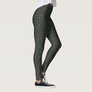 Green & Orange Spirals Leggings