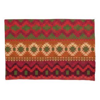 Green Orange Tan Aztec Pattern Pair Pillowcases