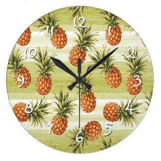 Green Orange Tropical Pineapple Fruit Pattern Large Clock