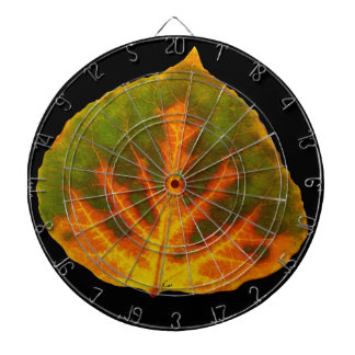 Green Orange & Yellow Aspen Leaf #1 Dartboard