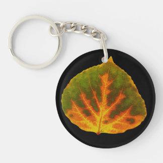 Green Orange & Yellow Aspen Leaf #1 Keychain