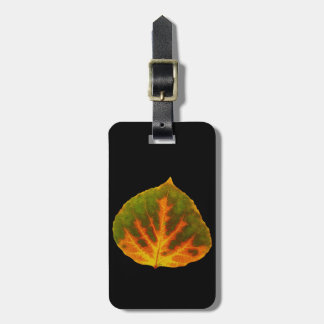 Green Orange & Yellow Aspen Leaf #1 Luggage Tag
