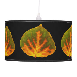 Green Orange & Yellow Aspen Leaf #1 Pendant Lamp