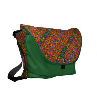 Green Orange Yellow Blue Floral Pattern Commuter Bag