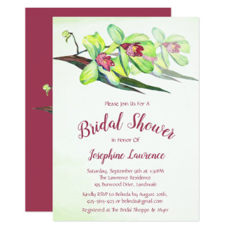 Green Orchid Floral Bridal Shower Invitations
