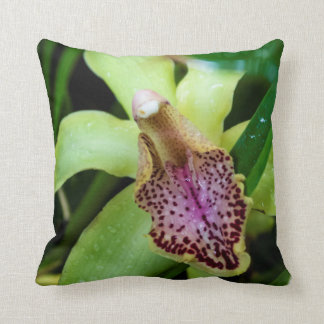 Green Orchid Throw Pillow