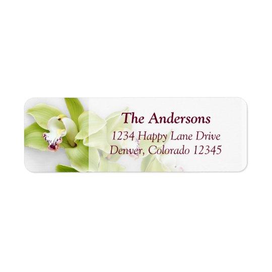 Green Orchid Wedding Return Address Labels