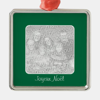 Green ornament of photograph of Merry Christmas