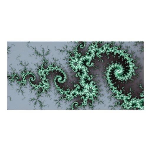 Green Ornament - stylish fractal design Customized Photo Card