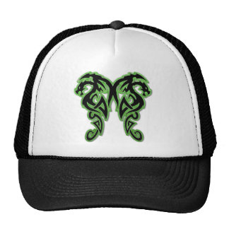 Green Outline Double Dragons Hats