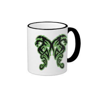 Green Outline Double Dragons Mug