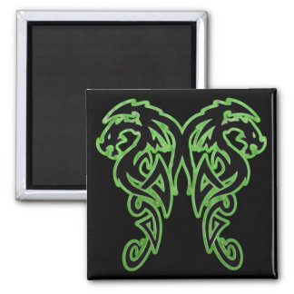 Green Outline Double Dragons Refrigerator Magnet