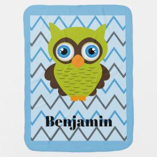 Green Owl Blue Trim Customizable Baby Blanket