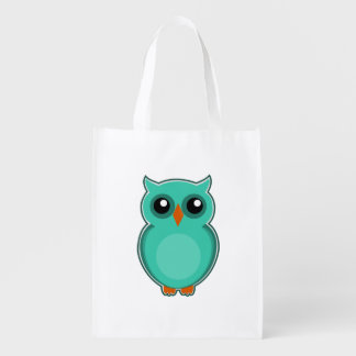 Green owl cartoon reusable grocery bag