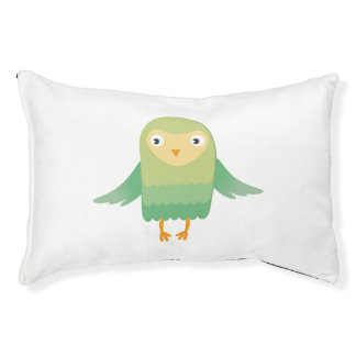 Green owl cartoon small dog bed