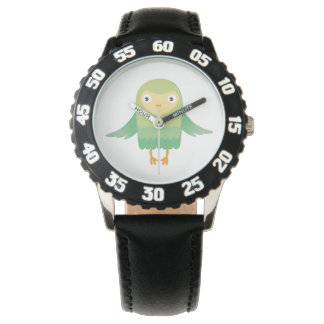 Green owl cartoon wristwatch
