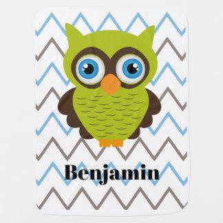 Green Owl Customizable Baby Blanket