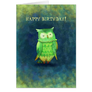Green Owl Greeting Card(customizable) Card