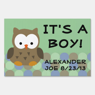Green Owl, It's a Boy Baby Yard Sign
