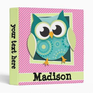 Green Owl on Pink & White Stripes Vinyl Binder