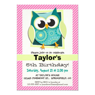 Green Owl on Pink & White Stripes 5x7 Paper Invitation Card