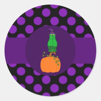 Green Owl on Pumpkin & Purple Dots Round Sticker