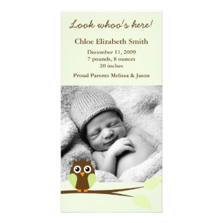 Green Owl Photo Birth Announcements Customized Photo Card