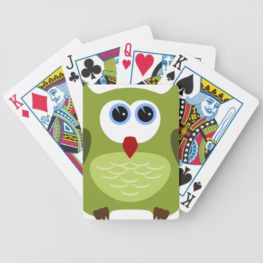 Green owl poker deck