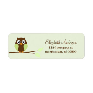 Green Owl Return Address Labels