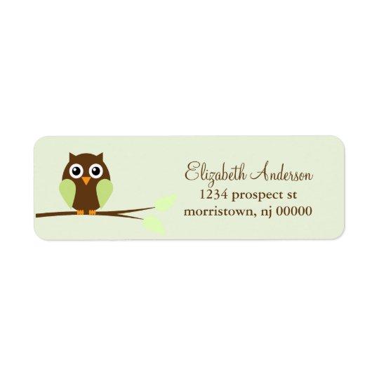 Green Owl Return Address Labels