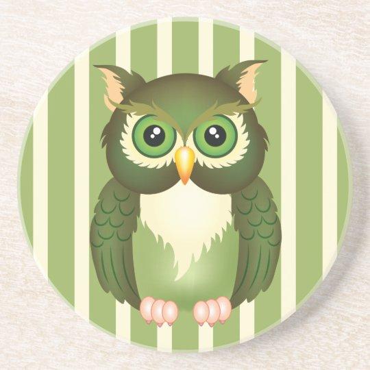 Green Owl Sandstone Drink Coaster