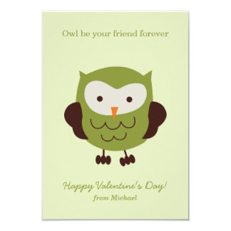 "Green Owl Valentines 3.5"" X 5"" Invitation Card"