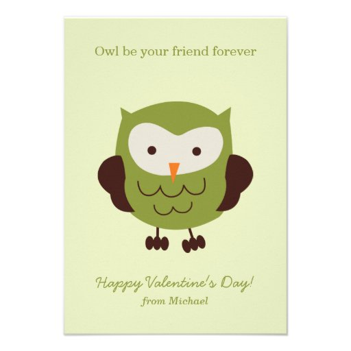 Green Owl Valentines Announcements