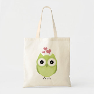 Green owl with hearts tote bag
