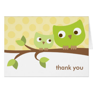 Green Owls Note Card