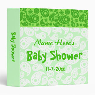 Green Paisley Baby Shower 3 Ring Binders