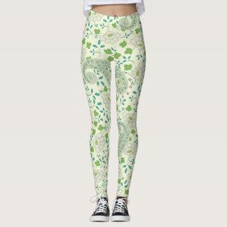 Green paisley floral leggings