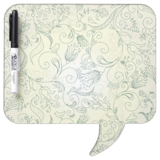 Green Paisley Flower and Bird Doodles Dry Erase Board