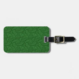 Green Paisley Luggage Tag