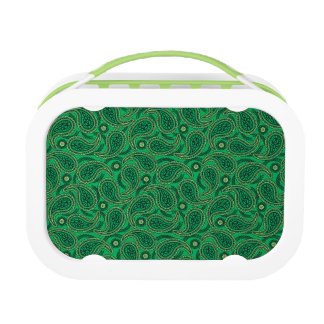 Green paisley lunch box