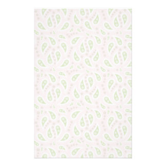 Green Paisley on Pale Pink Stationery